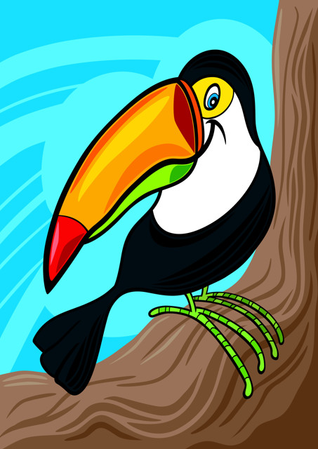 Toucan perched on branch