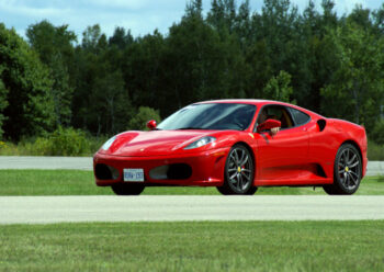 Side view of red Ferrari F430