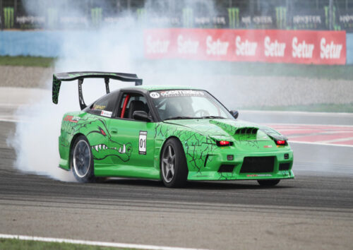 Green Nissan 180 SX racing car