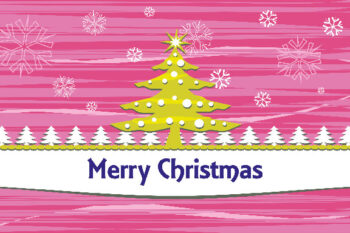 Merry Christmas with tree and pink background