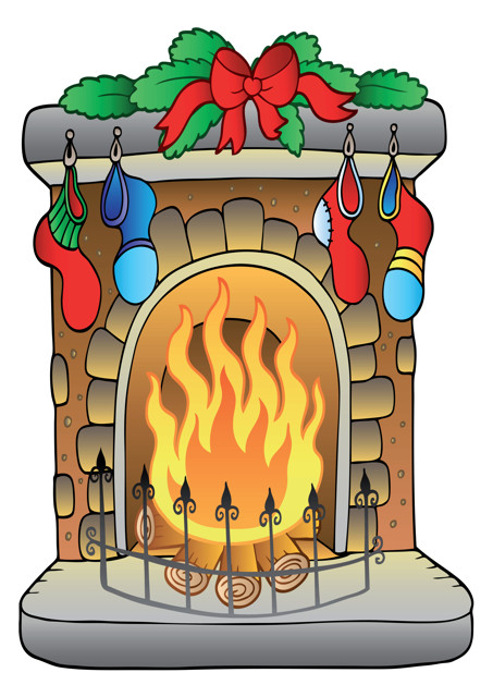 Decorated fireplace Christmas scene