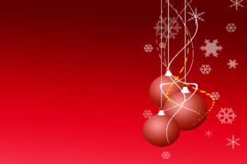 Christmas baubles with red background