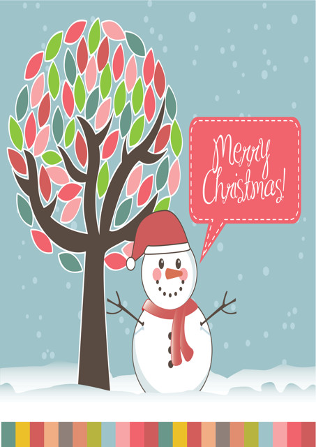 Merry Christmas and snowman