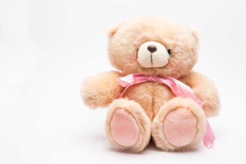 Teddy bear with pink bow
