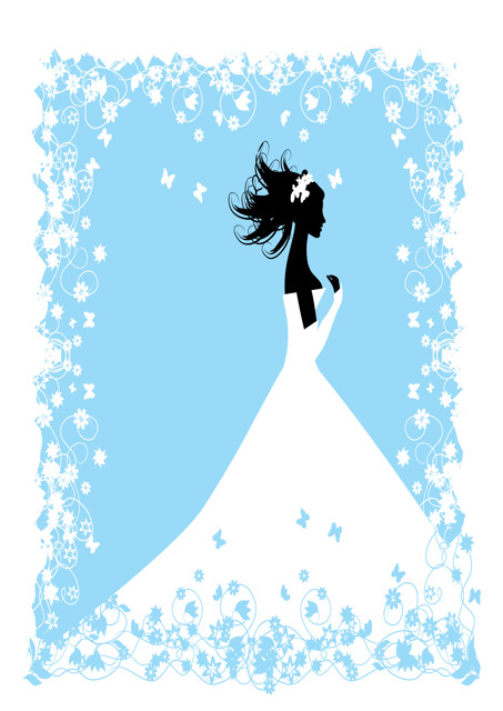 Bride silhouette with blue and white background