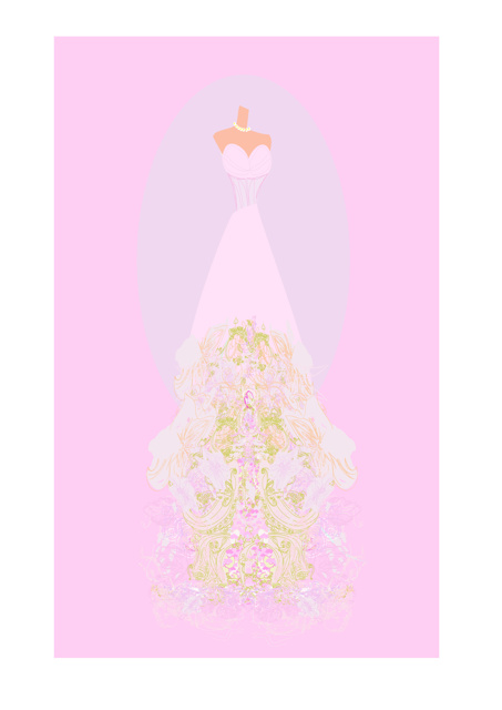 Dress with floral design and pink background