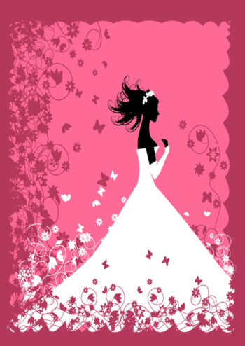 Bride silhouette with pink background