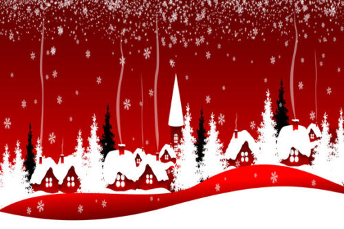 Houses and trees in the snow with red background Christmas scene