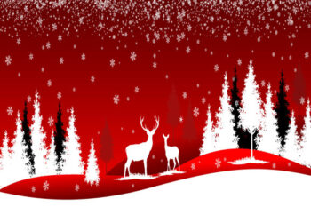 Deer and trees with red background Christmas scene