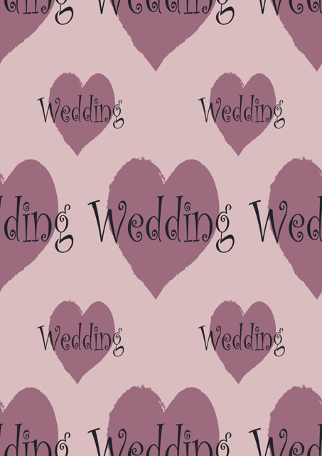 Hearts with the word wedding and pink background