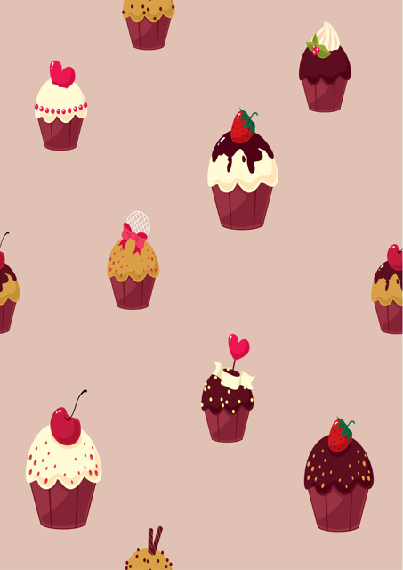 Cupcakes with dusky pink background