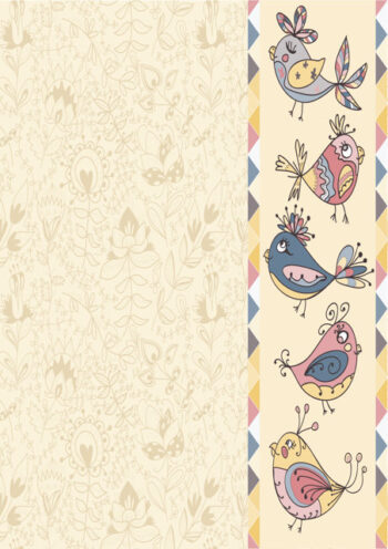 Border of birds with cream background