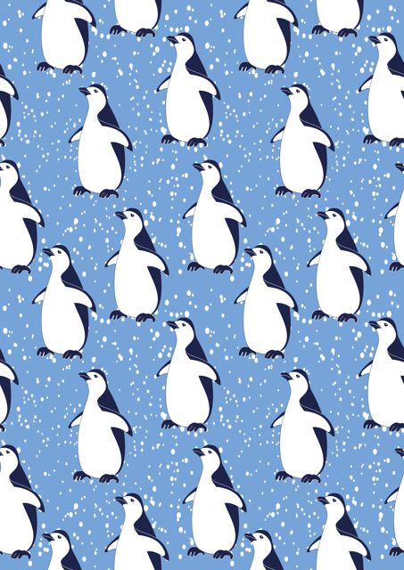 Penguins with blue background
