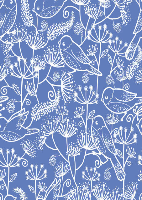 Birds and flowers with blue background