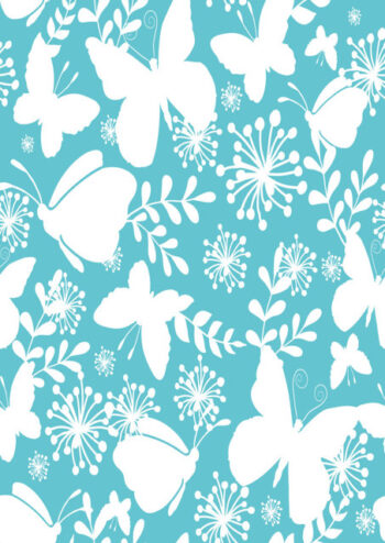 White butterflies and flowers with blue background