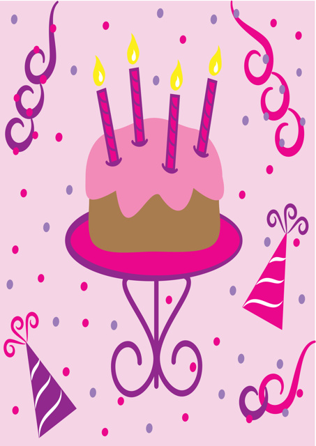 Birthday cake and pale pink background