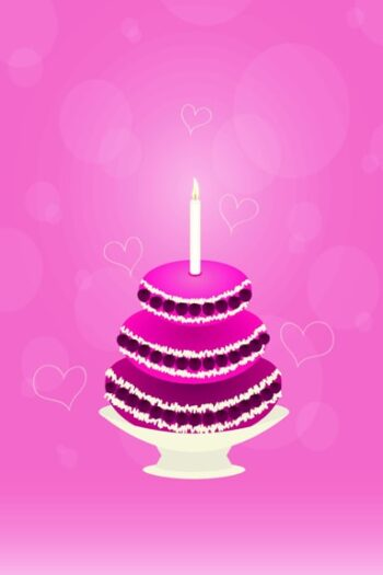Pink cake with candle and pink background