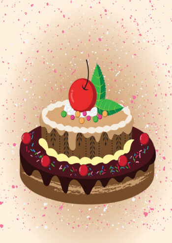 Birthday cake with mottled peach background