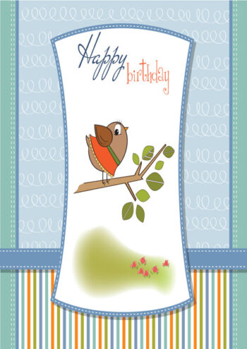 Happy birthday with bird on branch