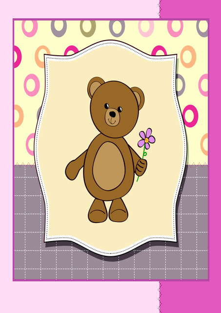 Teddy bear holding a flower