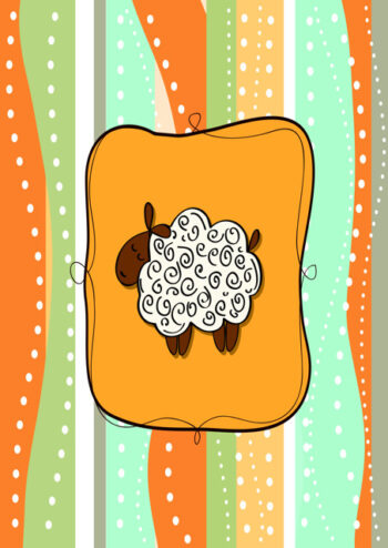 Sheep with orange and green background
