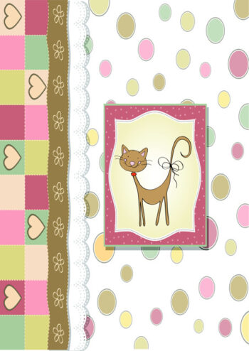 Cute cat with pastel shaped background