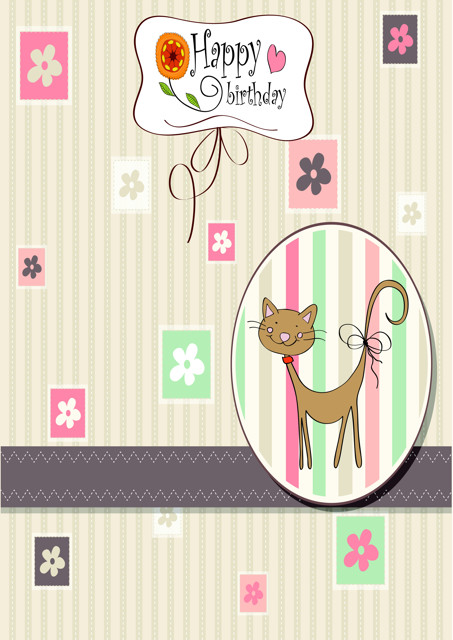 Happy birthday with cute cat and flowers