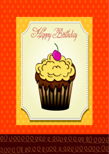 Happy birthday with cupcake and orange background