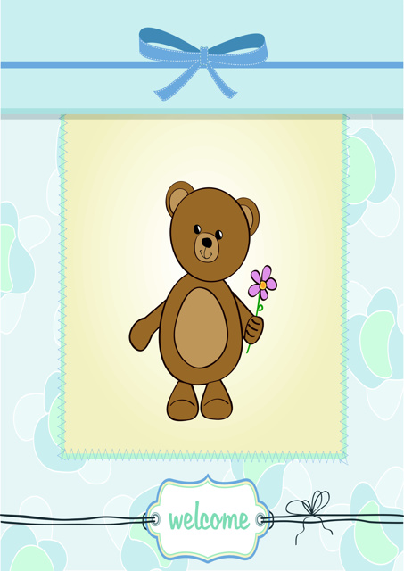 Welcome with teddy bear holding a flower