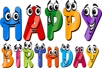 Happy birthday with colourful letters