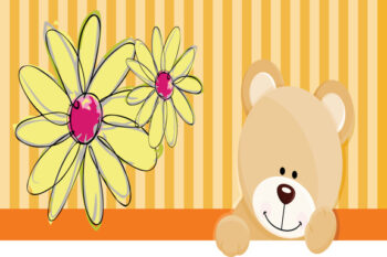 Teddy and flowers with striped orange background
