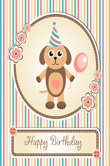 Happy birthday with cute dog and striped background