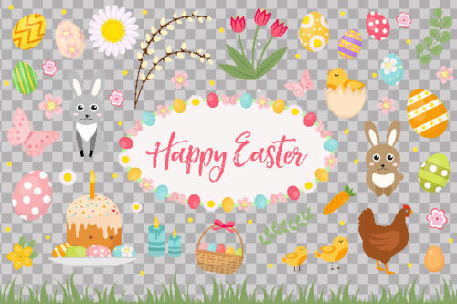 Happy Easter with rabbits and eggs