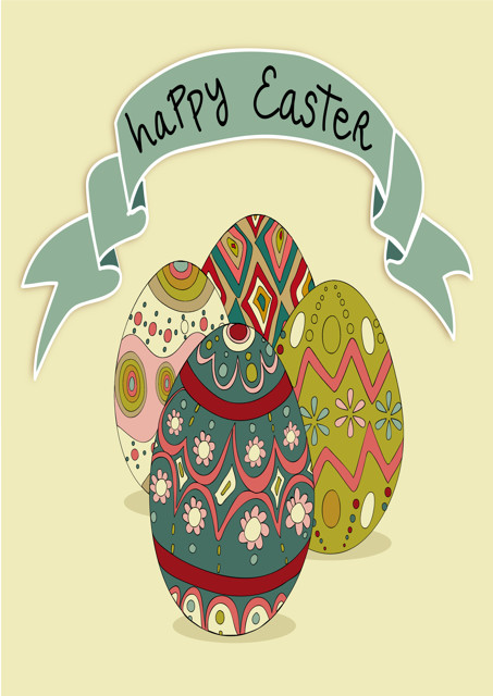 Happy Easter with patterned eggs