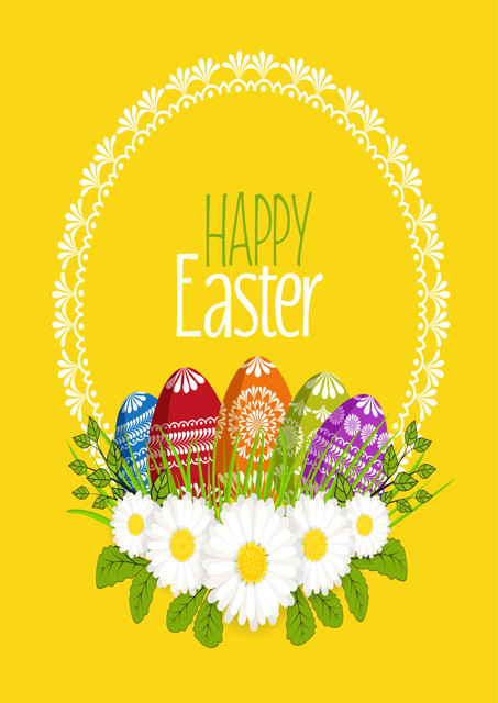 Happy Easter with eggs and flowers