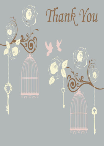 Birds and bird cages with grey background