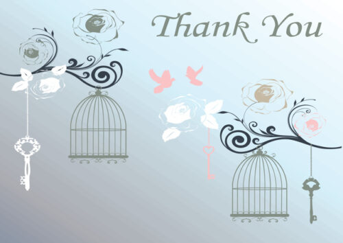 Birds and bird cages with light grey background