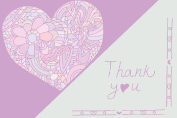 Paisley heart with lilac and white background