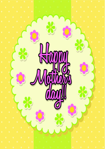 Happy Mother's Day with yellow and green background