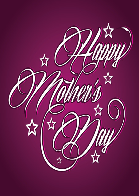 Happy Mother's Day with purple background