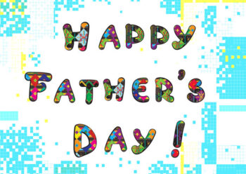 Happy Father's Day with white and blue background