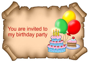 Balloons and cake on scroll invitation
