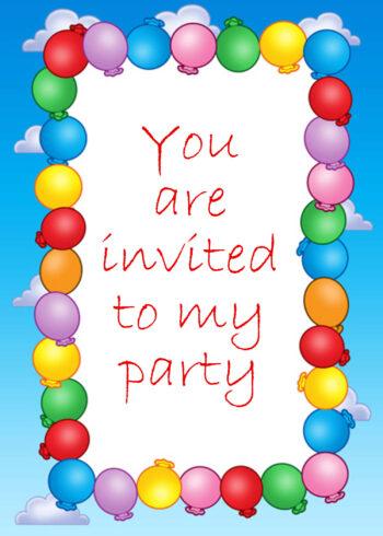 Balloon and sky border invitation
