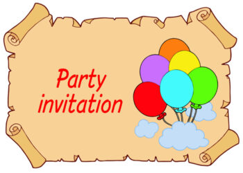 Balloons on scroll invitation