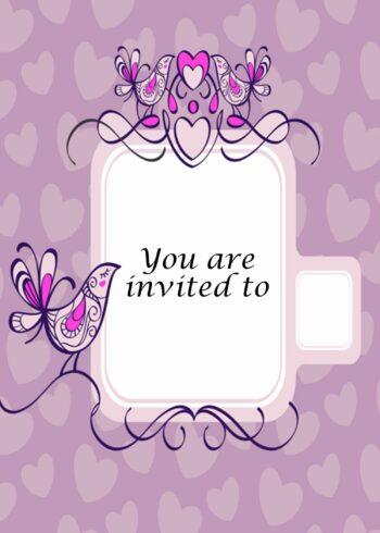 Pink birds and hearts invitation