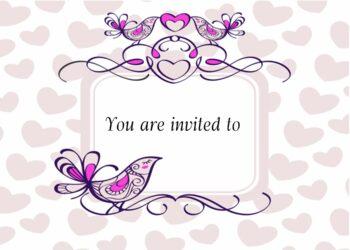 Birds and hearts invitation