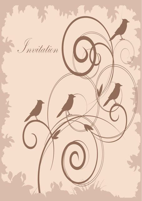 Birds sitting on plant invitation