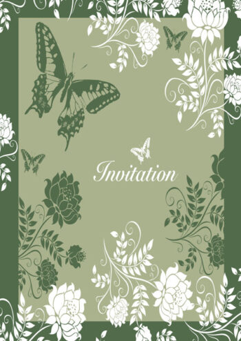 Butterfly and flowers in white and green