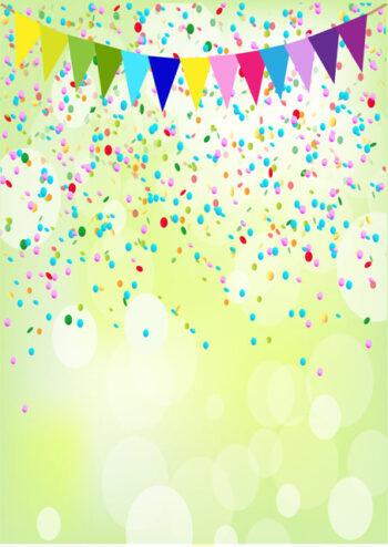 Colourful bunting and confetti
