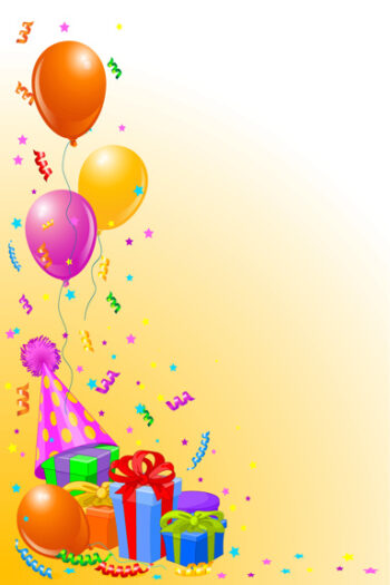 Balloons and presents with orange and white background
